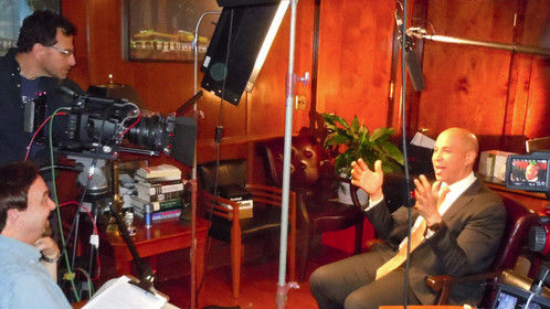 """One of the key interviews for my recent documentary """"The Week that Changed the World,"""" US Senator Cory Booker.  That's me in the interviewer's seat.  Paul Schoenberger on camera."""
