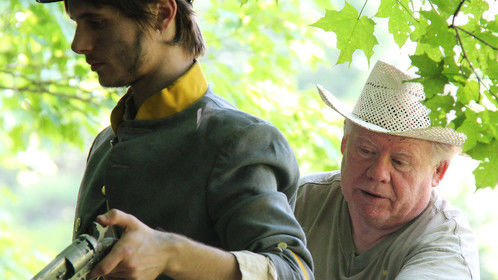 Writer, director, editor John McCarty (rights) arranges actor Nick Brigadier for a shot on the set of THIRST: A CIVIL WAR STORY (leering Buzzard Pictures, 2013).