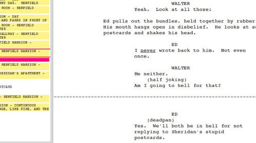 "Screen cap from Movie Magic Screenwriter of my short script ""POSTCARDS FROM SHERIDAN"""
