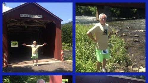 At the Cromwell CT Covered Bridge after a 5k race