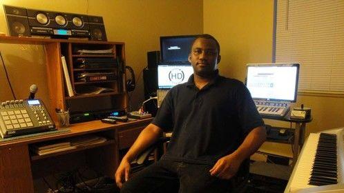 Rodney Burutsa in the Heaven's Disciples Music home studio.