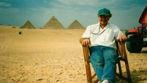 Yours truly relaxing for a few moments during a hectic shoot in Egypt.