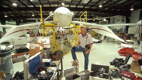 Photo shot at Scaled Composites in Mojave, California while working on a story about the X-Prize for National Geographic Magazine.  The aircraft in the background is the White Knight, which successfully launched SpaceShipOne into space at 100,000 feet.