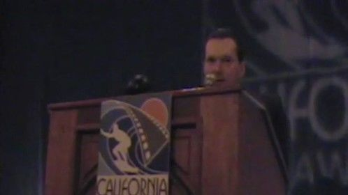 """Michel accepting award in category """"Best of Alternative Films"""" at the 2011 California Film Awards in San Diego, California"""
