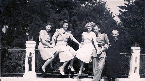 Lajos and Iren's courting picture escorted by Lajos's Mother, Anna, and Iren's sister Nutzi and best friend Caroline, 1943.