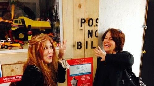 Our posters were papering the island.  (left, singer/songwriter Jill Siler.  Right, Me)
