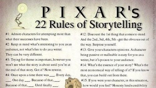 There is a reason Pixar has so much success. They know how to tell a great story and follow these rules.