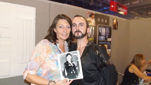 Me having a photo taking with the lovely Sarah Douglas, who also happens to someone I'm glad to call friend. Sarah Douglas was famous for Ursa from the Superman films, V The Original Miniseries.
