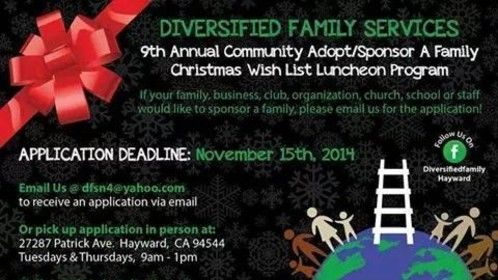 Looking for Sponsors, toys, or donations or if you are a family in the Bay Area in need of Christmas toys, food, clothes for your children give us an email at dfsn4@yahoo.com or call us at 510-629-0085