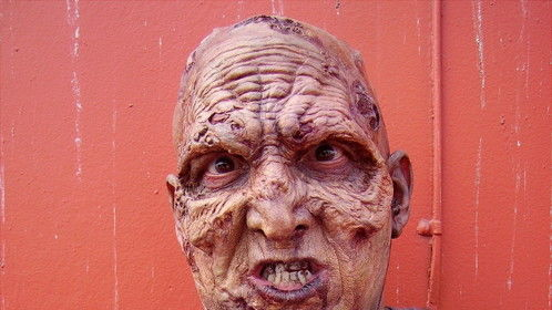 This Picture was taken on the set of Resident Evil 4, which I was the lead Zombie. Also I wear prosthetics well.