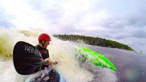 Host rides em in the Wild Big-Waves Kayak story, Canada