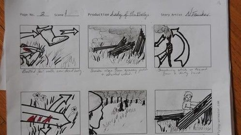 """Page from the storyboard for """"Lady of the Bridge"""".  The proposal for the pilot of the mini-series """"Lady of the Bridge"""" was accepted and passed by the Board of Directors of VI Film and Entertainment Cooperative. Filming began in the Fall 2014. Script, Storyboard and Costume Design done by Nicole Faucher.  Please note that the entire production of this pilot is a """"passion"""" piece -- no one is paid. We are all dedicated local members doing this to boost up our experience, skills and portfolios for the film industry."""