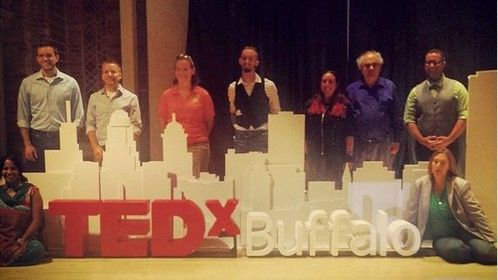 "Posing with other TEDxBuffalo speakers after giving talk on ""Singing Geneticists and EPIC Virtual Machinima Opera"". Buffalo, NY."