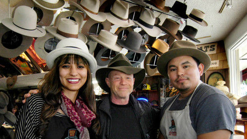 Burbank, CA - Me, a happy customer after the team at Baron Hats took good care of sprucin' up my Borcalino. That there's Lupe the shop manager on my left and Omar the hat maker on my right.  You got a hat need fixin, this here's the place.