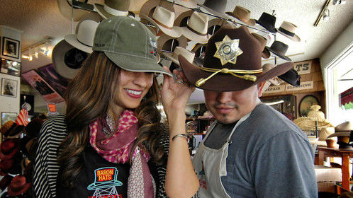 Burbank, CA - Baron Hats, Lupe the shop manager and Omar the hat mater modeling their goods
