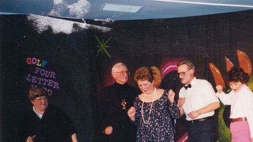 I'm playing a 60's girl in Rowan and Martin's Laugh In at Oakbrook Golf and Country Club's Dinner Theater Spring. 1994.