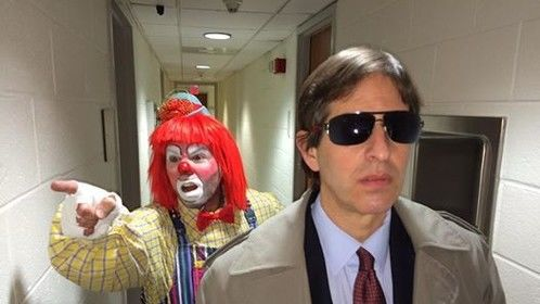 """Trying a name change. Filming the new opening,   Breezin with Bierman Productions,,,, Presents   """"ADAM     The clown is my sycophant"""
