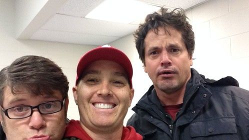 Hanging out with Sean Astin and Kevin Downes on the set of Woodlawn The Movie