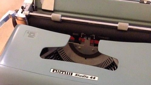 """The """"new"""" Olivetti Studio 44 typewriter, to go with my Royal. If you've never written a first draft on a typewriter, give it a shot sometime. It's very freeing and makes you keep moving forward. Perfect for the first draft."""