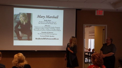 Mary Marshall, The Paranormal MD during a presentation at an event
