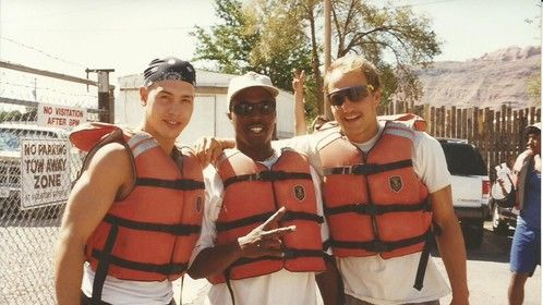 Marvin Jon Seda and Woody Harrelson at Colorado River on off day while shooting The Sunchaser