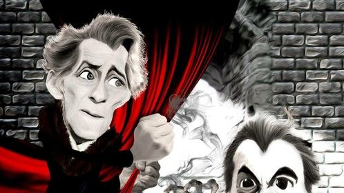 Horror caricature I did of Peter Cushing and Christopher Lee