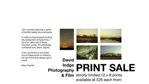 Photographic print sale: I'm hoping to raise funds for a series of short documentary films.
