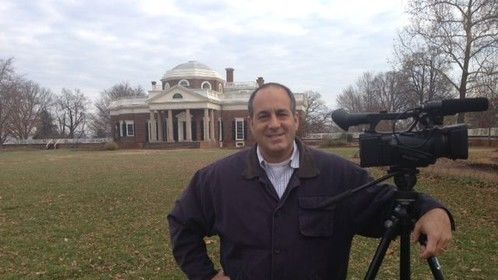 Filming at Monticello, Thomas Jefferson's home, for my documentary on $2 bills.
