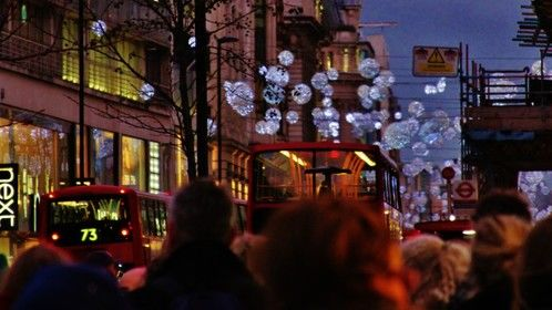 London streets at Christmas