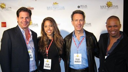 Producer-director Ric von Maur, actress Justice von Maur, writer Michael Ray Brown, and director Kareem Mortimer at the San Deigo Black Film Festival with Wind Jammers.