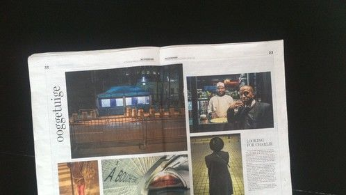 Double page in Belgian newspaper 'De Standaard'.  I went to Paris in search of someone who's real name is Charlie. Just asking people I cross in the streets, making portraits of the city and it's inhabitants in the meantime.
