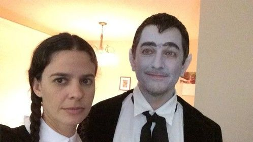 Me & my wife as (her) Wednesday Addams and (me) Eddie Munster for 2014 Halloween