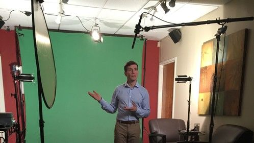 Shooting an instructional video. In post production they're going to add moving graphics that I 'drag' into the frame.