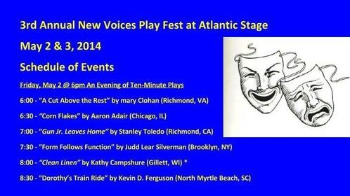 """Corn Flakes"" Atlantic Stage 2014 New Play Festival (reading) 79th Ave Theatre Myrtle Beach, SC May 2 - 3, 2014 Director: Jason Adams"
