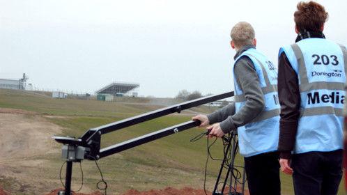 Fools on the hill. Jib shot filming at Donington Park Raceway.