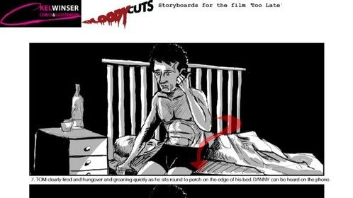Story boards for a short horror film 'Prey' by the online production company Bloody Cuts.