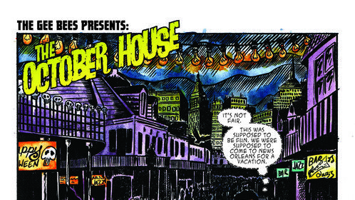 A page from a short comic called 'The October House'. Written by Steven D Quirke and Lettered by Mike Stock.