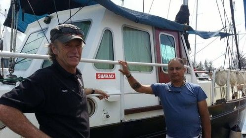 Hans and Cliff showing off our Simrad decal