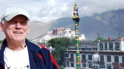 Colin in Lhasa Tibet, with the Potala  Palace in the background