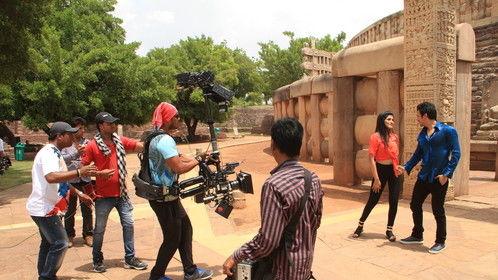 "Shooting For Marathi Movie ""Mismatch"" Producer Alok Shrivastav and Ganesh Acharya at Sanchi Bhopal India"