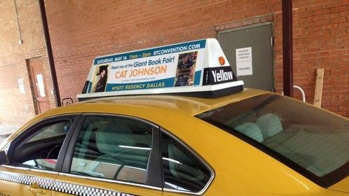 Cat Johnson taxi cab ad. Dallas, TX April/May 2015