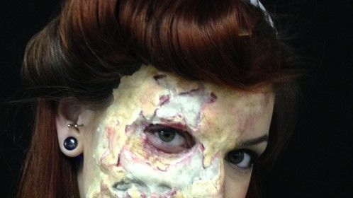 One piece/half face foam latex appliance sculpted, molded, applied, and painted by me. Hair and beauty makeup by me. (c) Twisted Beauty Makeup and Effects