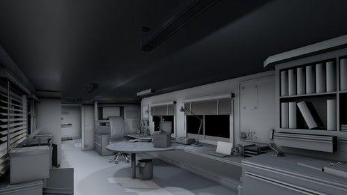 Inside of a trailer office.