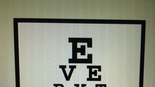 """An eye chart from my book """"Adult Puberty."""""""