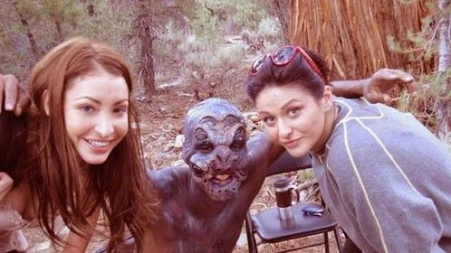 BTS with Linda Bella (talent) Angela Ntagkinis (beauty makeup) and John Carter McGill (creature performer) on Monsters in the Woods
