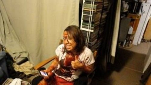 BTS with gladys otero after her big bloody day on the set of Monsters in the Woods