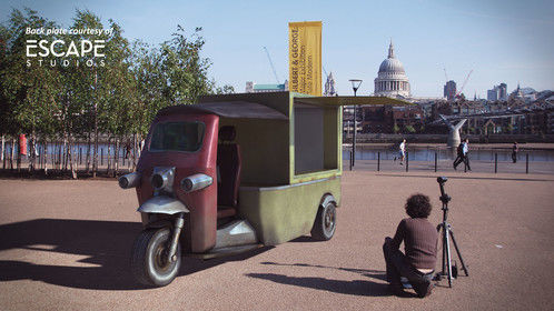 Tuktuk: 3D modeling texturing and lighting a vehicle, during VFX training at Escape Studios