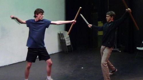 """""""Macbeth"""" Macduff and Macbeth fight rehearsal, Gunn High School, 2014."""