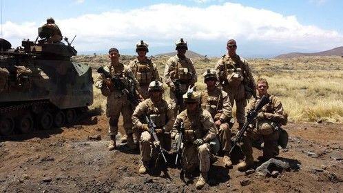My squad mates and I in Hawaii. I'm on the far left standing.