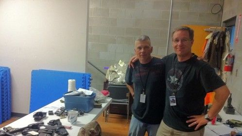 "Director Dan Lennox and Lead Wardrobe Designer Mike Constable on the set of, ""Jackson's Run"""